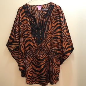 She's Cool Size 3X Tiger Print Blouse: 2042